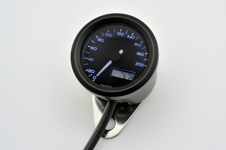 DAYTONA Digital speedo VELONA, black, Ø 48mm, scale 200 km/h