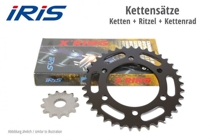 IRIS Kette & ESJOT Räder IRIS chain & ESJOT sprocket XR chain kit APRILIA 125 Red Rose 89-95