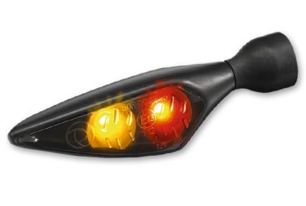 Kellermann Rück-, Bremslicht, Blinker Einheit Micro Rhombus DF, Dark, schwarz, getöntes Glas, hinten links