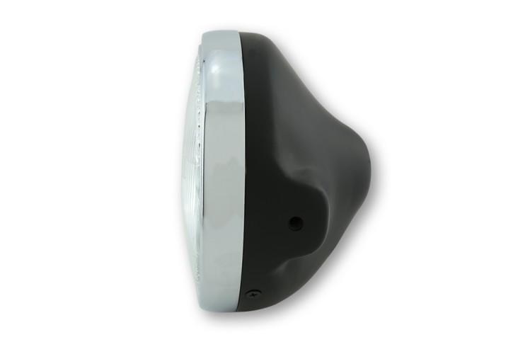 SHIN YO LTD-Scheinwerfer, 7 Zoll, H4-Einsatz mit geprägtem Glas, schwarz matt