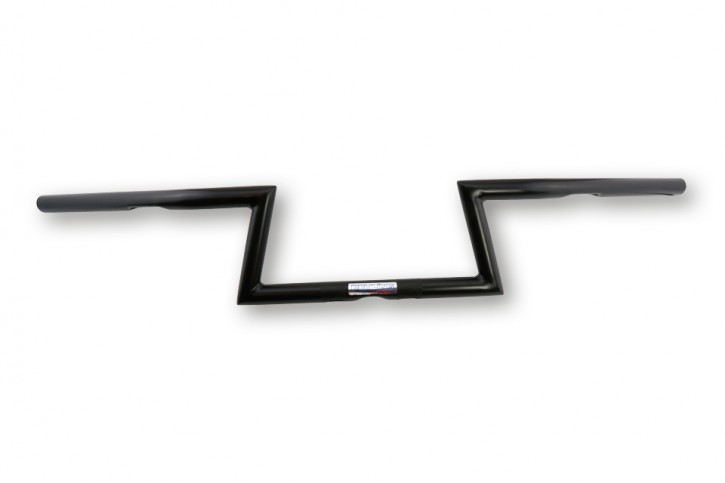 FEHLING Handlebar top round/bottom angular 1 inch with notch, high, wide, black