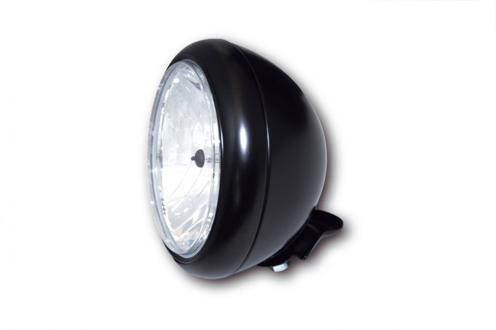 SHIN YO 7 Zoll HD-STYLE Scheinwerfer, klares Glas (Prismenreflektor), schwarz glänzend,