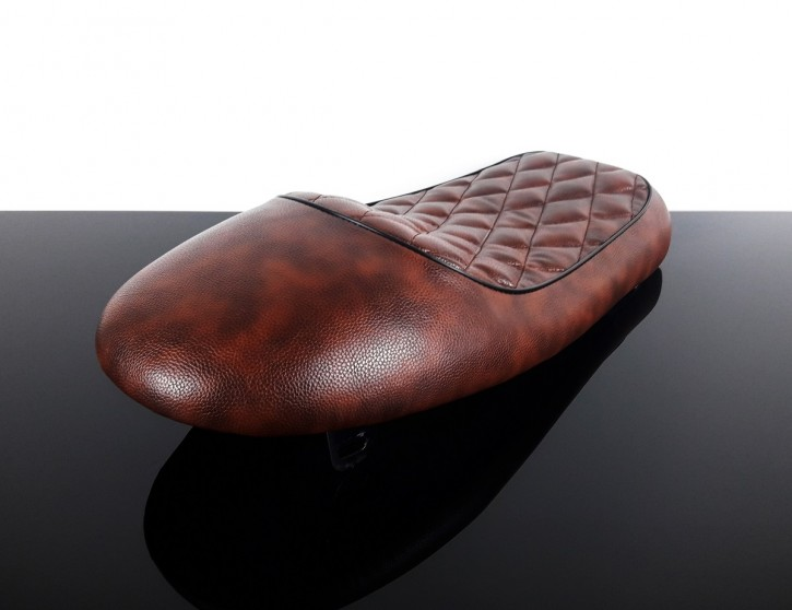 Cafe-Racer SEAT, universal, vintage brown with black cord edge
