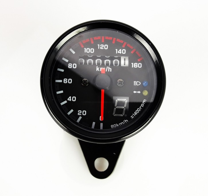 Small Speedometer, 61mm, black, 160km/h, 1,4k with control lights