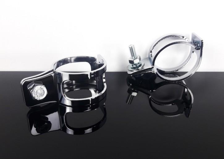 2* verchromte BLINKERHALTER, Blinkerschellen, Gabelklemmen, universal 35-38mm