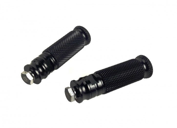 FOOTREST, 2 pcs., alloy, CNC milled, black anodized