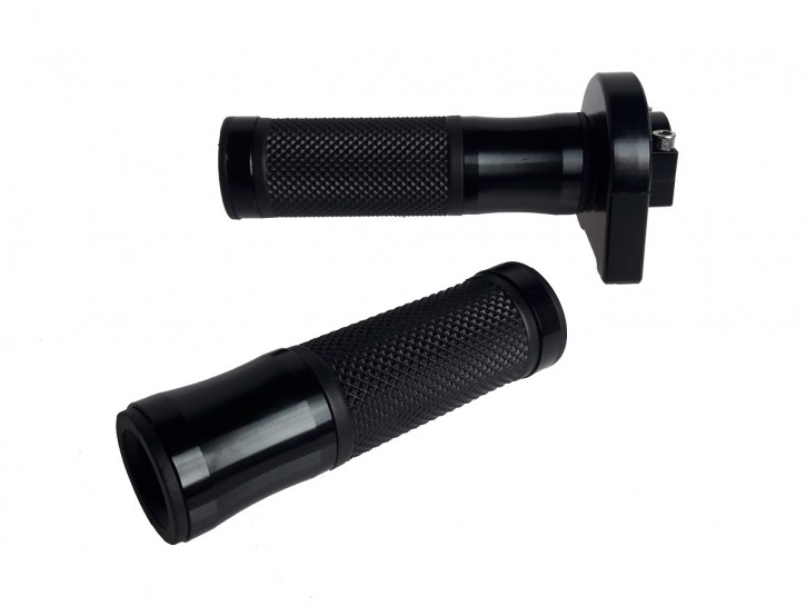 THROTTLE CONTROL / twist grip + 2 GRIPS, f. 22mm handle bars, black