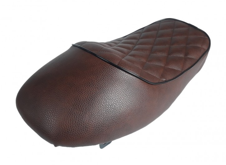 Cafe-Racer SEAT, universal, vintage brown with black cord edge, second quality