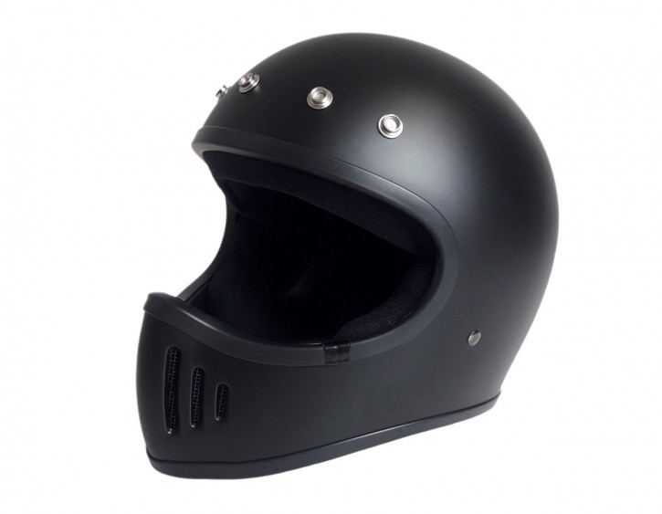Retro-style CROSS-HELMET, black denim, DOT approved, size XL
