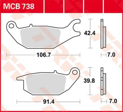 TRW Lucas Bremsbelag MCB738