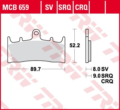 TRW Lucas Racing brake pad MCB660SRQ without homologation