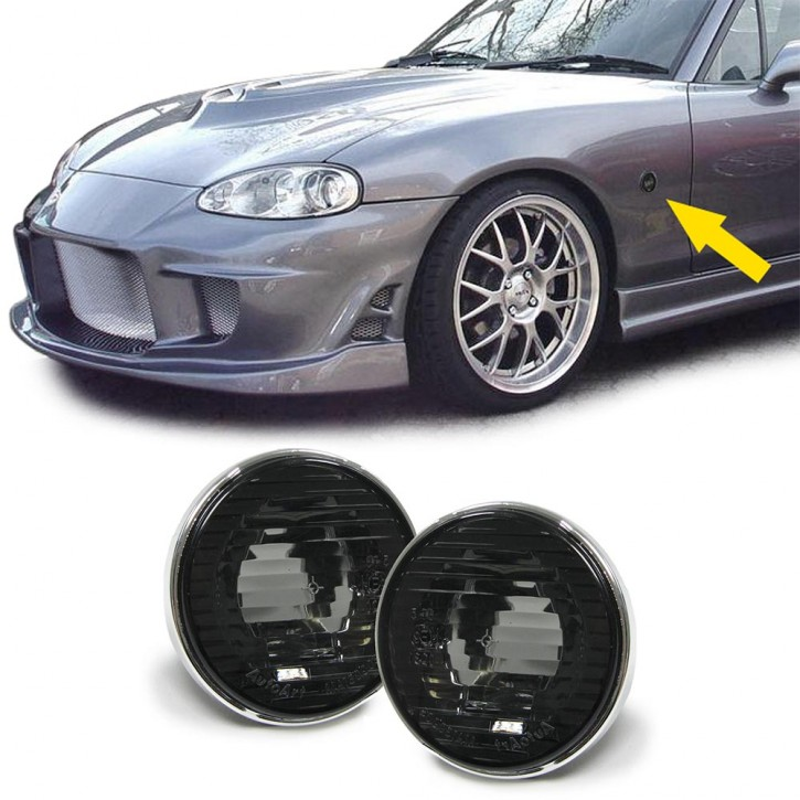 "2 SIDE INDICATOR LIGHTS, w. black tinted glass and chrome edge, f. MAZDA MX-5 NA / NB / NB-FL, ""e""-marked"