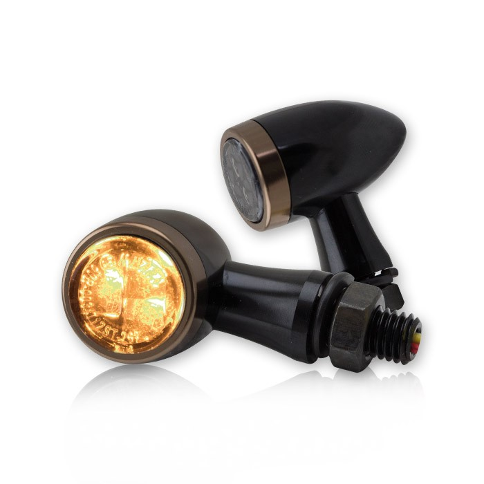 2 SMD MINI-TURN-SIGNALS with Taillight made of Aluminium with Copper-Coloured Trim Ring