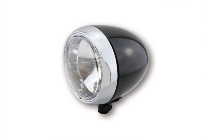 SHIN YO main headlight, shiny blackk with chrome ring