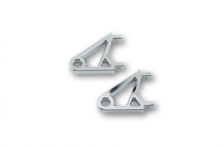 CNC Alu Lampenhalter XS, verchromt, Paar