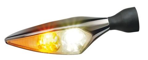 LED-Blinker/Positionsleuchte Micro Rhombus PL, Titan, hochglanzpoliert, v/r