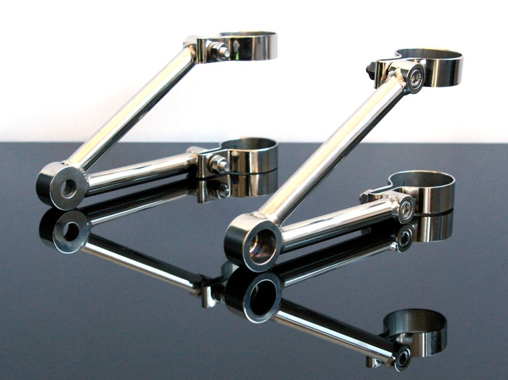 Polished stainless steel headlight brackets 39mm