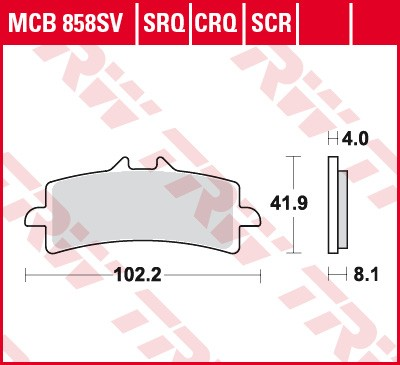 TRW Lucas Racing brake pad MCB858CRQ without homologation
