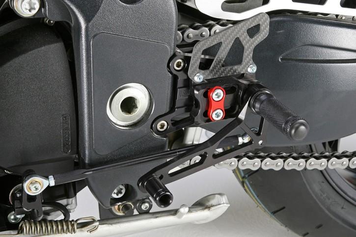 LSL 2Slide rearset TRIUMPH Speed Triple 1050 05-10, mounting piece red