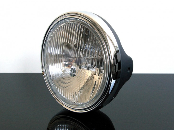 HEADLIGHT, black, 12V/H4, diameter