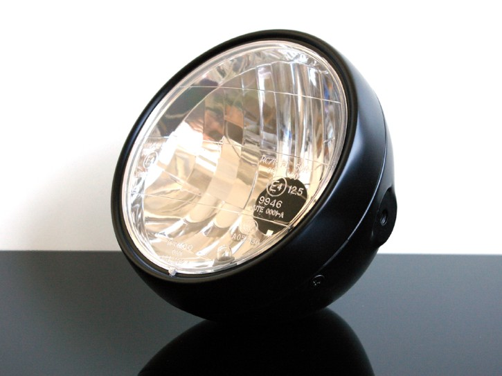 Classic head light / headlamp with clear screen, semi-dull black