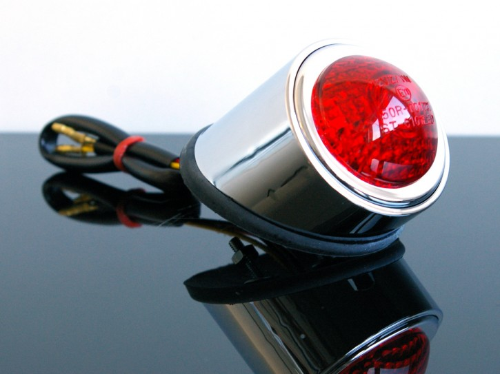 LED Mini-RÜCKLICHT mit e-Prüfzeichen, verchromt