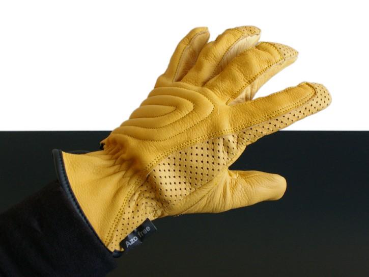 CAFE-RACER Sommer-HANDSCHUHE/Summer gloves/Gants, LEDER/leather, ockerfarben  L