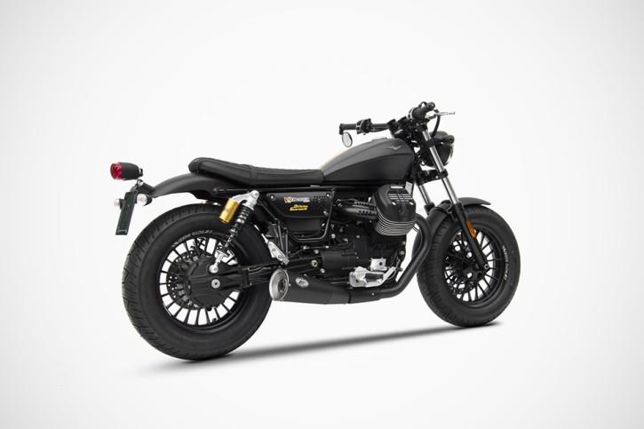 ZARD Edelstahl-Endtopf Moto Guzzi V9 Bobber - Roamer (Euro 4) Short Slip-on 2-2, schwarz
