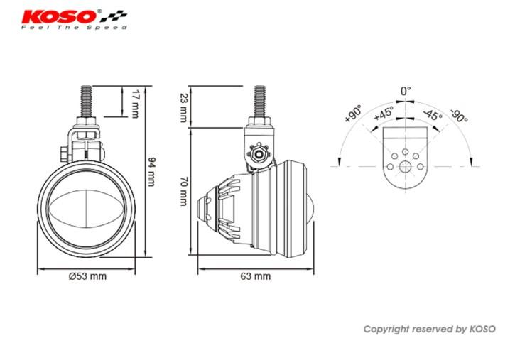 KOSO AURORA LED-Nebelscheinwerfer, schwarz