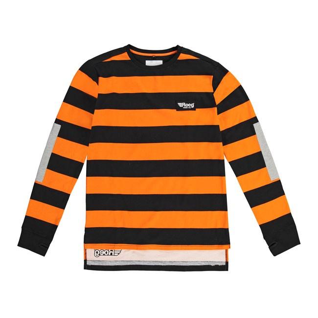 ROEG JERSEY-SHIRT 100% Baumwolle Orange/Schwarz gestreift
