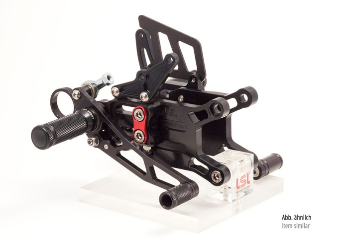 LSL 2Slide rearset TRIUMPH Street Triple RS 17-, black, mounting piece red