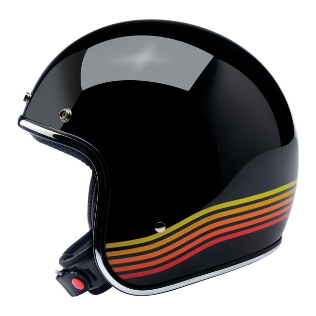 BILTWELL BONANZA Jet-Helmet gloss black with Retro Red-to-Yellow-stripes
