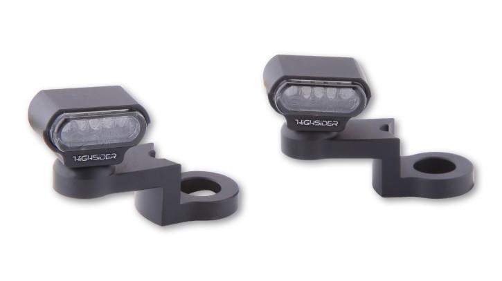HIGHSIDER HIGHSIDER LED indicator with CNC mirror mounting TYPE 1, black