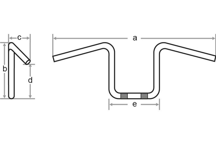 FEHLING Flyer Bar, 1 1/4 Zoll, B 85 cm, schwarz