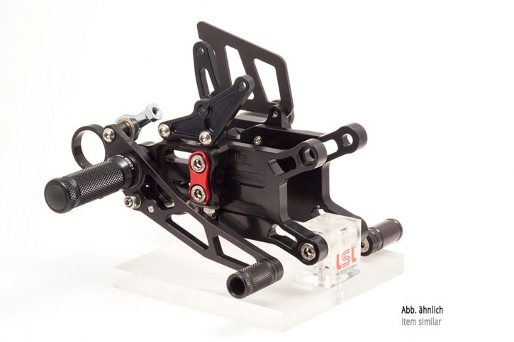 LSL 2Slide rearset TRIUMPH Street Triple R 13-, revers + Quick Shifter, black, mounting piece red