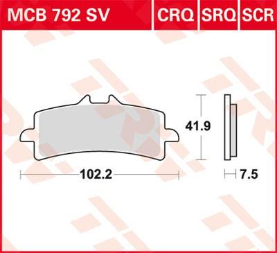 TRW Lucas Sintermetall-Bremsbelag MCB792SRT