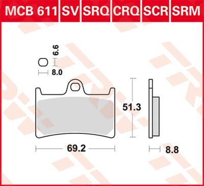 TRW Lucas Racing brake pad MCB611CRQ without homologation