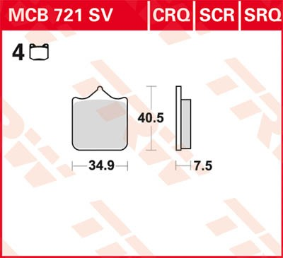TRW Lucas Sinterbelag MCB721SV