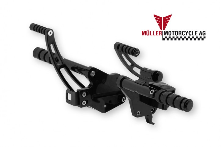 Aluminium Forward Controls for Softail-Models (FXST), 2000 - 2006, 100mm forward, black shiny