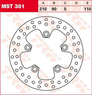 TRW Lucas Brake disc MST381, fixed