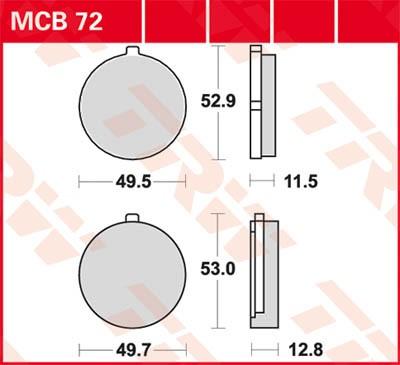 TRW Lucas Bremsbelag MCB72