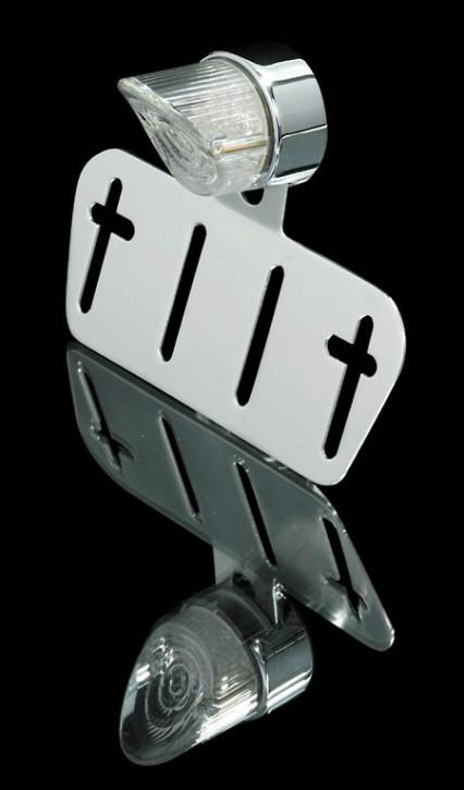 SHIN YO LED-Mini-Rücklicht mit Nummernschildbeleuchtung transparent., rund