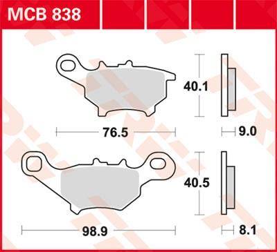 TRW Lucas Bremsbelag MCB838
