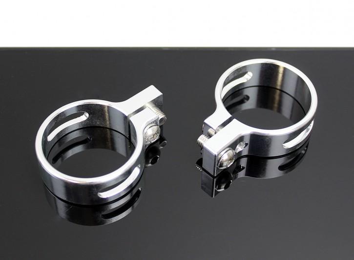 2 BLINKERHALTER Gabelklemmen Ø41mm Aluminium silbern