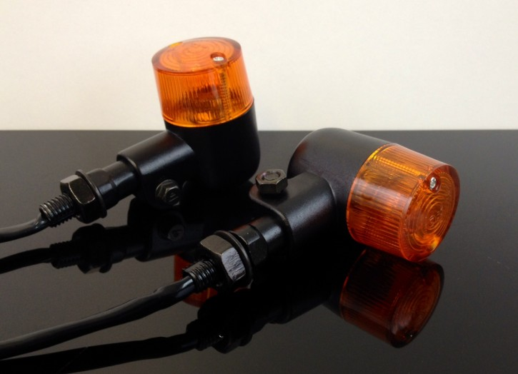 2 Mini-BLINKER Miniblinker, e-geprüft, seidenmatt schwarz