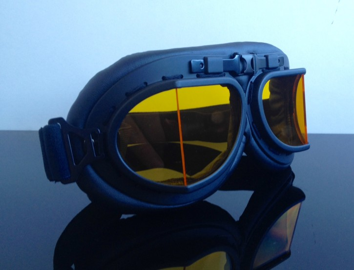 Motorcycle goggles, black/yellow