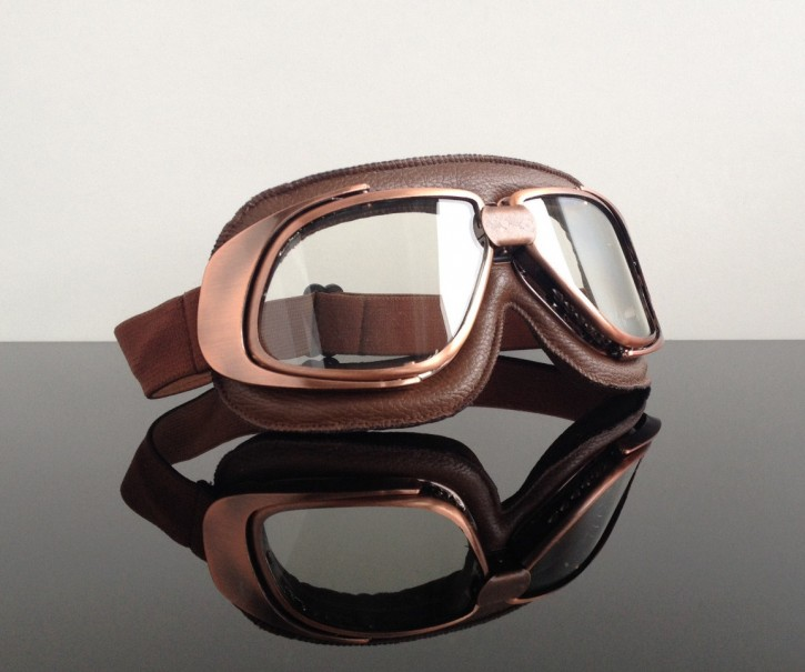 Helmet-goggles/glasses, brown / copper