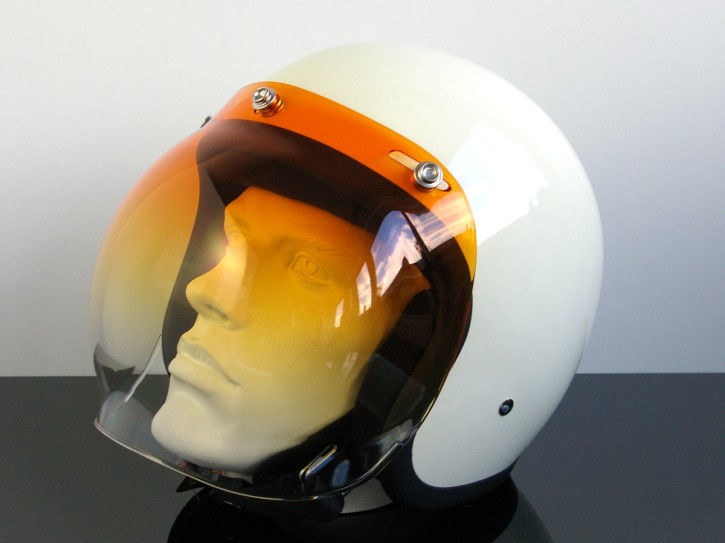 Bubblevisor / WINDSCHILD für Jethelm / HELM, orange / klar