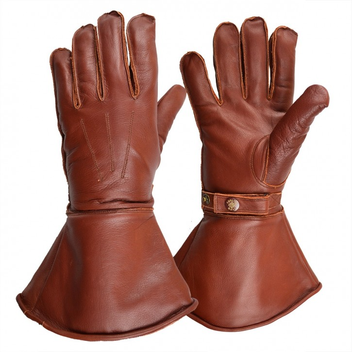 MOTOCYCLE GLOVES, leather with fleece lining, brown