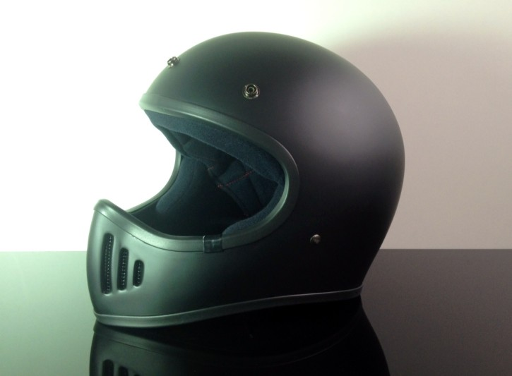 Retro-style CROSS-HELMET, flattblack, DOT approved